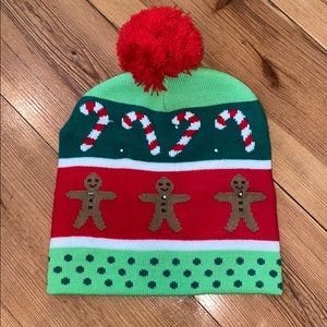 Holiday Light Up Beanie with Red Puffer